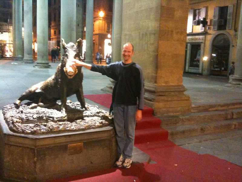 Bronze boar in Mercato Nuovo (legend has it that its good luck to rub his nose - Matthew reluctantly did so)