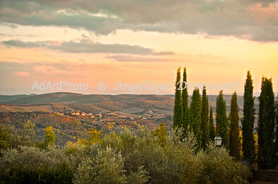 Sunset outside Volpaia, in Chianti