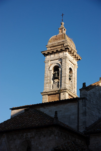 The tower of the Collegiata, one of several churches within the city walls.