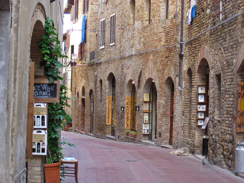 The streets are narrow and lined with wine bars and shops.