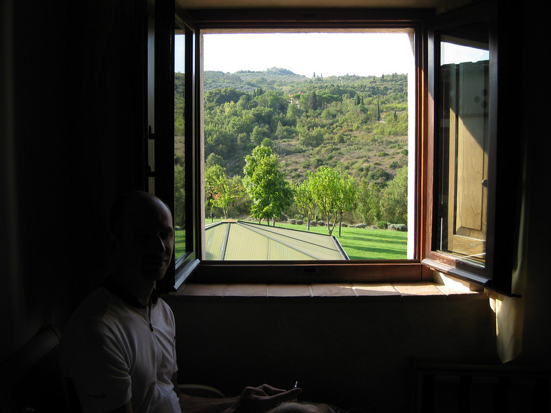 View from our hotel room at Hotel Osteria dell'Orcia