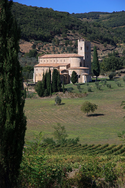 Then we drove a few miles south to the Abbazia di Sant'Antimo, a beautiful 12th century Romanesque abbey where the monks celebrate their canonical hours with Gregorian chants, scheduled several times a day. We missed the late morning chanting so  . . .
