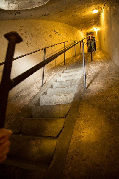 This shows how awkward the climb was in some parts. I couldn't quite stand up all the way and the stairs were steep and narrow. It also demonstrates the two layers that Brunelleschi employed in building the dome.