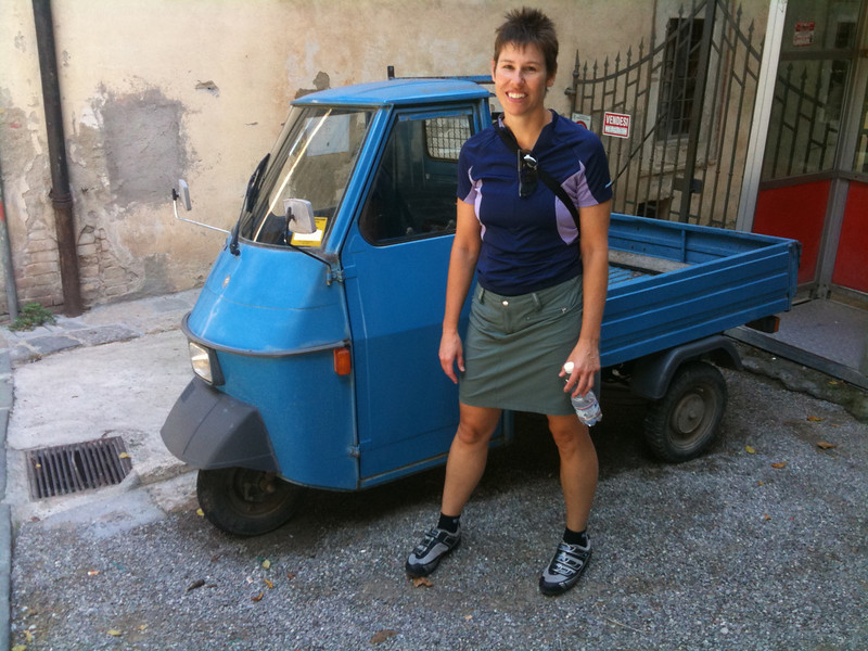 """Posing with an """"ape"""" (3 wheeled truck)"""