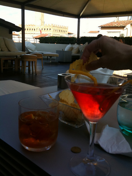 Cocktails at the roof bar of Hotel Continentale (Palazzo Vecchio visible in the distance)