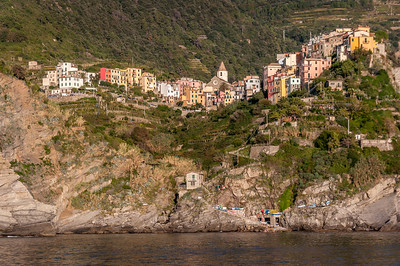 The town of Cornigila on the Cinque Terre coast of the Mediterranean