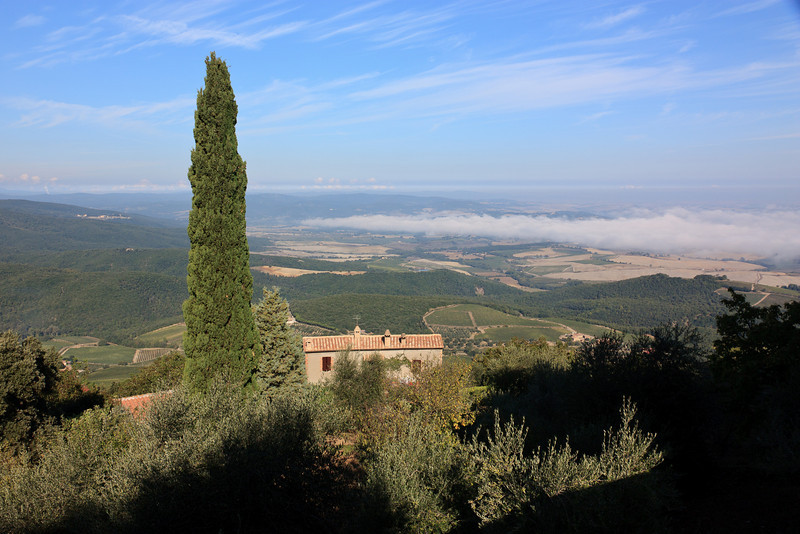 . . . where there are breathtaking views of the Val d'Orcia below.