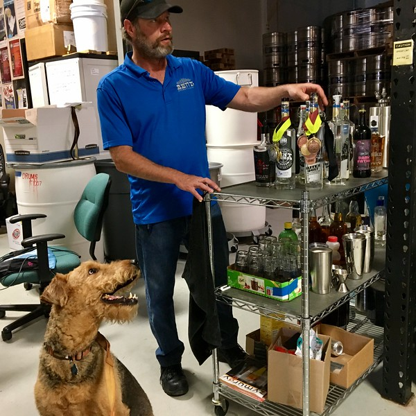 Bartley, owner of Bent Brewstillery giving us a back-room tasting