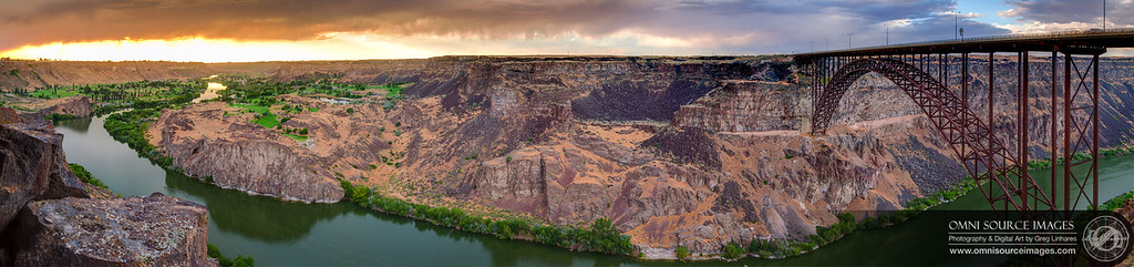 Sunset Over Snake River Gorge - Super-HD Panorama - Twin Falls, Idaho. July 31, 2013 at 7:57 PM. 11 sets of 3 bracketed exposures digitally stitched and tonemap blended. Original image file is 23,472 x 5517 pixels!