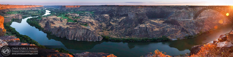 Sunrise Over The Snake River Gorge - Twin Falls, Idaho. Super-HD Panorama created from 10 vertical images digitally stitched for a total of 20,967 x 5160 pixels! August, 1, 2013 at 6:48 AM. 1/8 second at f/11, ISO 50, 50mm.