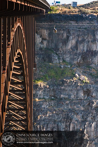 Base Jumper initiates free fall head first from the Perrine Bridge in Twin Falls, Idaho. August 1, 2013 at 7:09 AM
