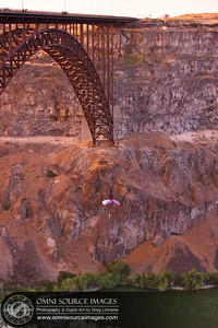 Base Jumper - Snake River Gorge, Twin Falls, Idaho. July 31, 2013.