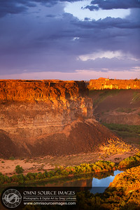 Golden Light Over Snake River Gorge in Twin Falls, Idaho. July 31, 2013