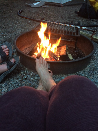 toes, campfire