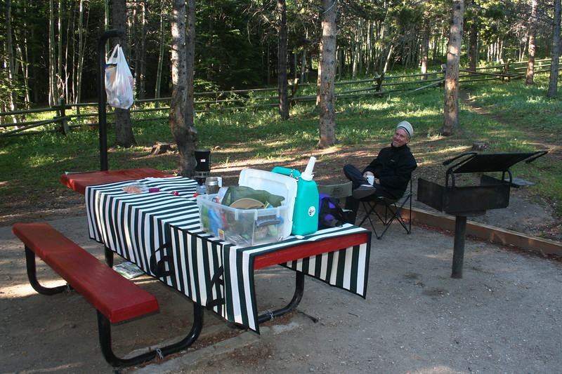 Our site at Circle Park campground in the Bighorns.