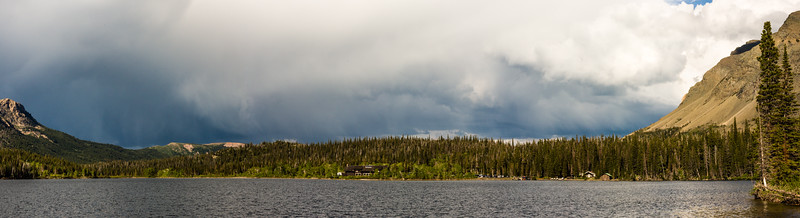 Panorama of storm brewing above Two Medicine Lake