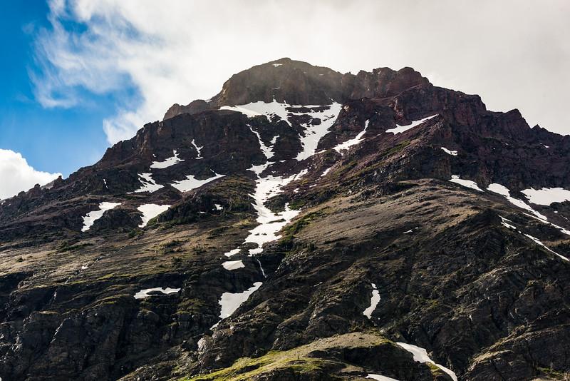 Snowfield / avalanche chute above Two Medicine Lake
