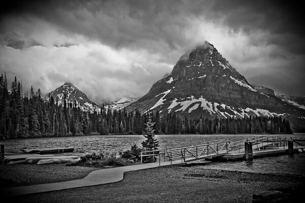 Sinopah Mountain at Two Medicine Lake in Glacier National Park. Just like an old postcard.