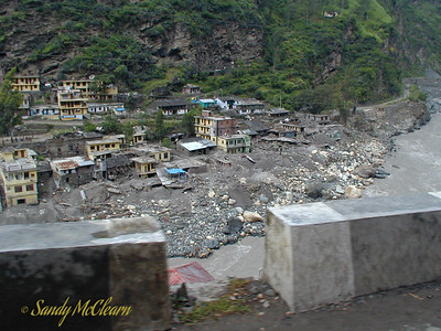 Rampur is a fair sized town on the Satluj, a few hours away from the project site. Much of the town was located right beside the riverbank, and paid dearly for this proximity as can be seen from the damage to buildings on the right bank in this photo.
