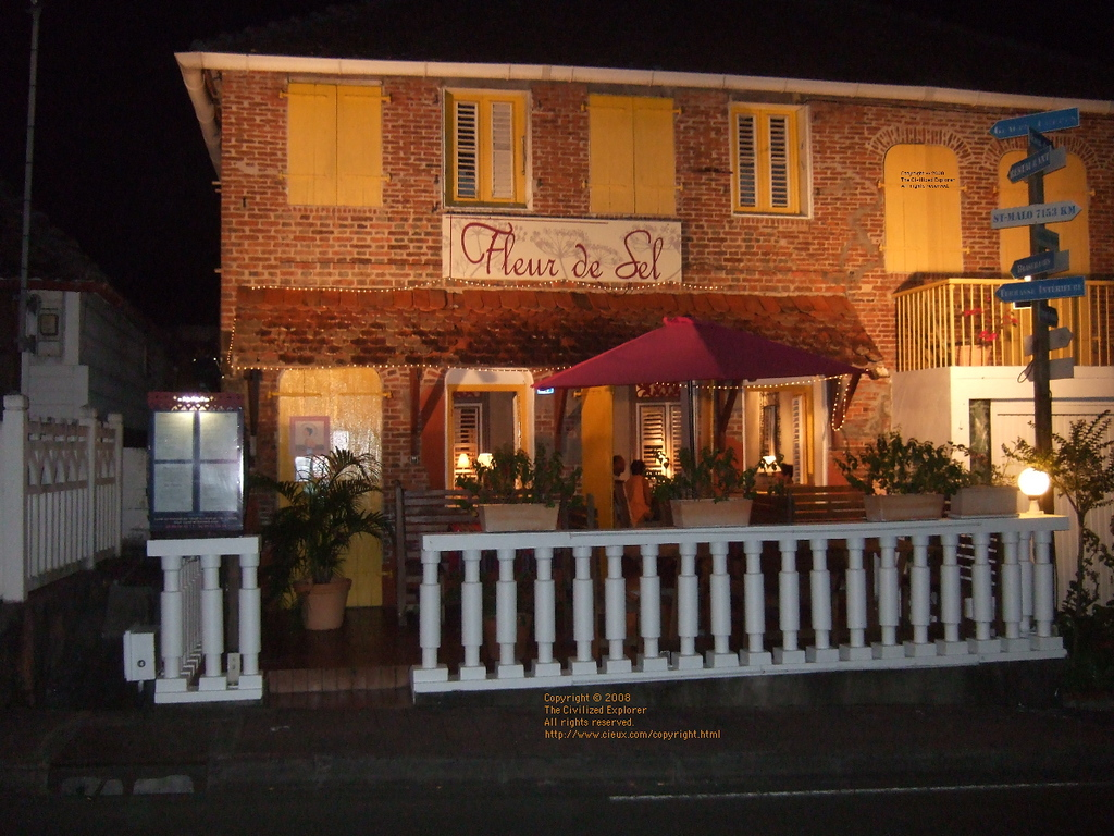 Fleur de Sel is one of the best restaurants remaining on Martinique. As you drive in to Trois Islets, the restaurant is on the right. Drive past it a couple of doors and take the next right. A half block farther on is an open area to park.