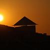 Solnedgang over taket på Hotellet..