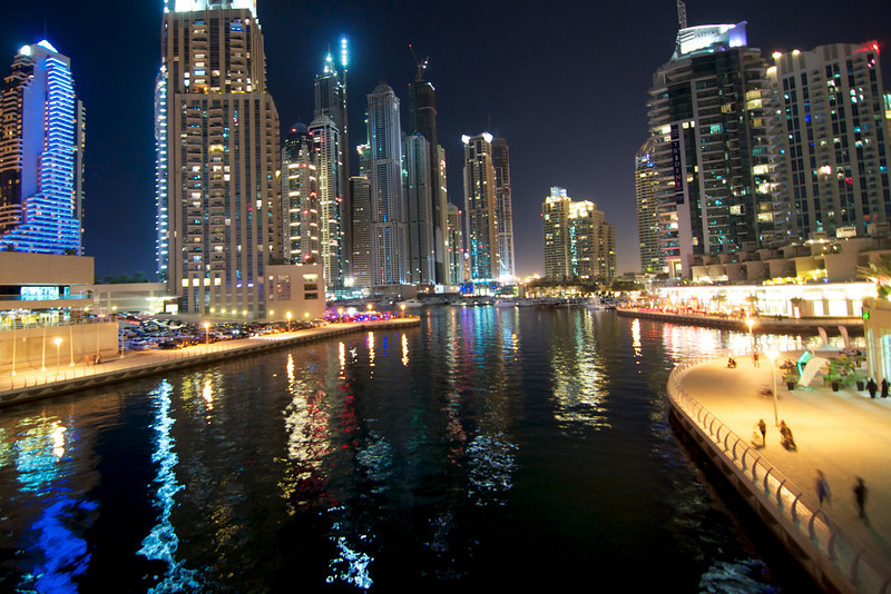 From bridge overlooking canal in Marina area of Dubai.