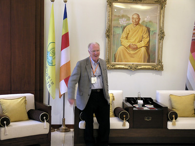 Chancellor Vanderhoef in the Chung Tai Chan Monastery receiving room.
