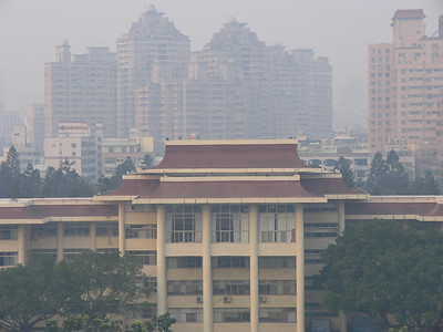 View of the NCHU administration building from the library balcony