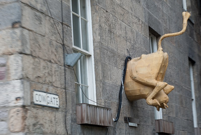 Cowgate. The cow's head was sticking out of the other wall to the left.