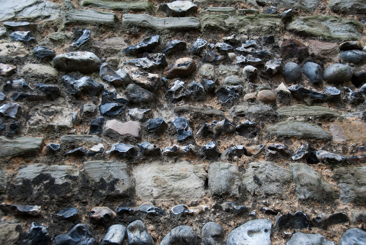An interesting mixture of stones used in building the walls