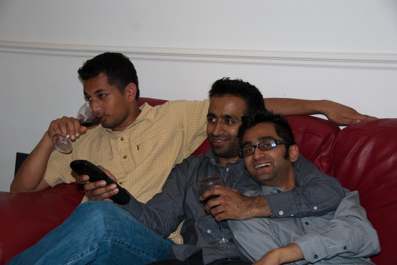 Me, Baiju, and Karthik after 4 bottles of wine, I think
