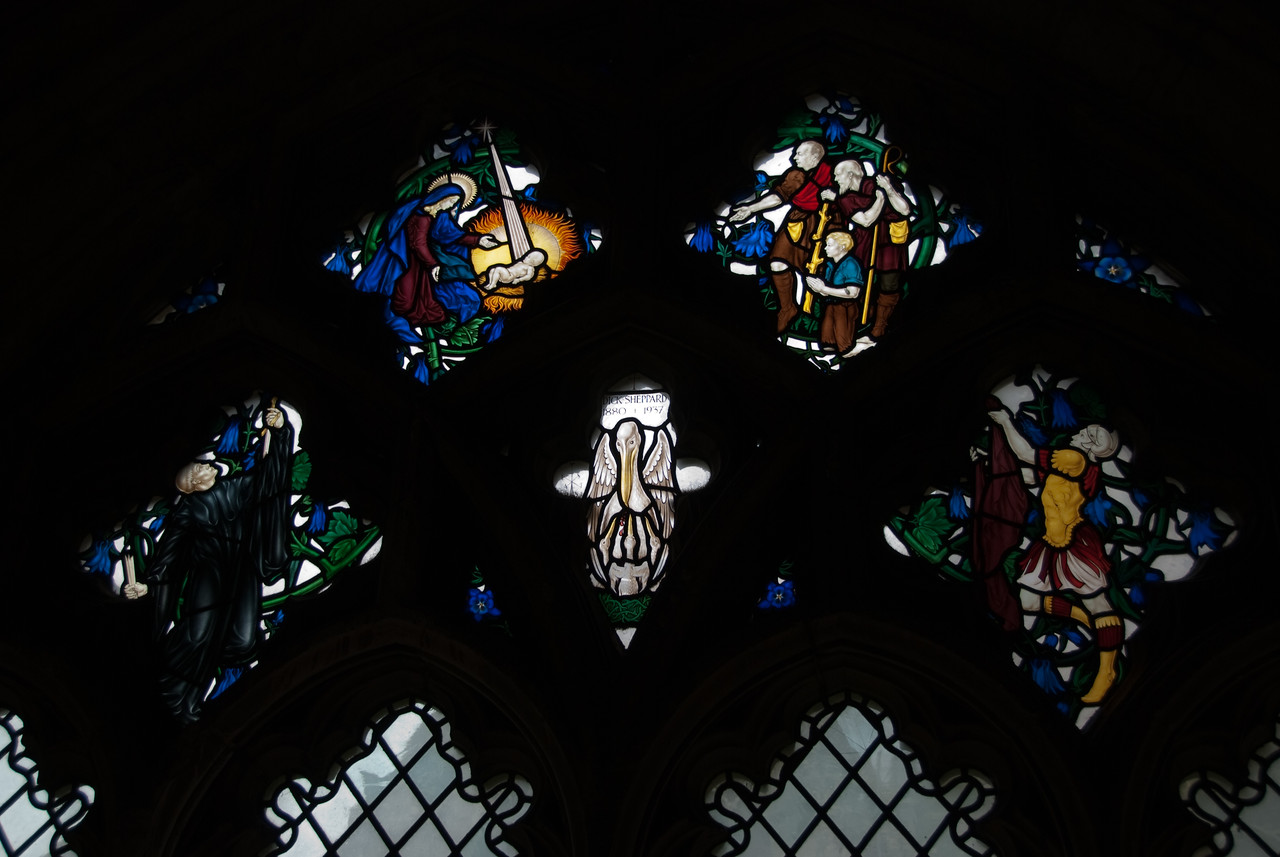 Some of the stained glass in the cloisters