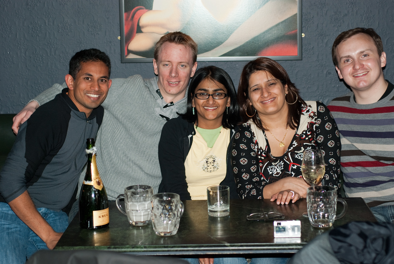 Me, Tom, Bhumisha, Bushra, and Craig - Bhumisha's friends from her University days.