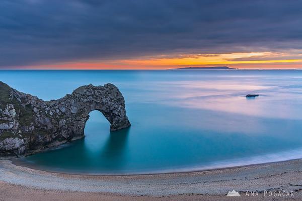 Durdle Door after sunset, Dorset, UK