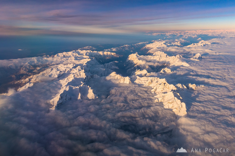 The beautiful Julian Alps on a sunny winter morning as seen from a plane