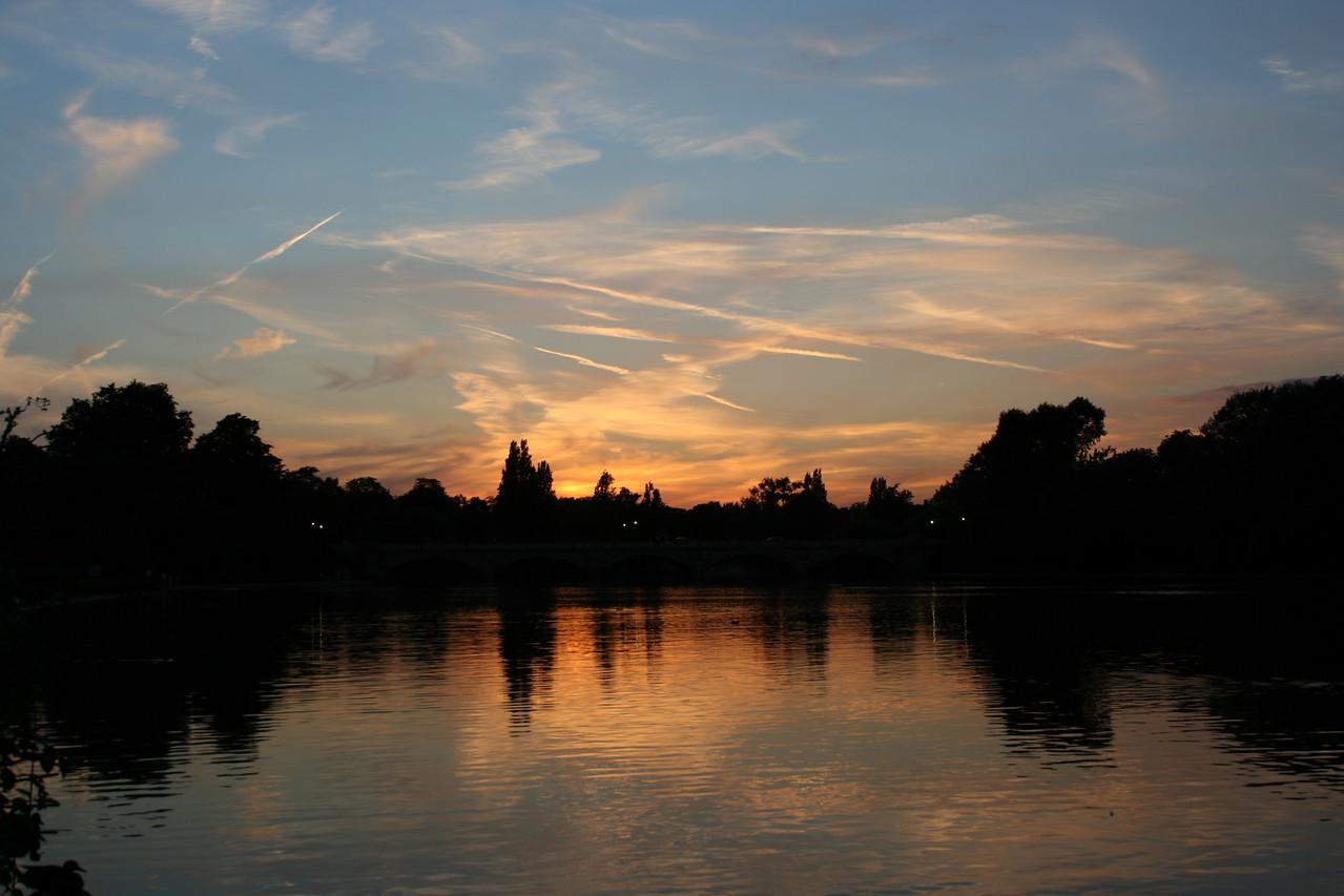 Sunset at Hyde Park, London.