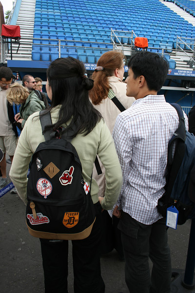 These Japanese tourists (single, not in a big group!) had a very interesting collection of baseball patches.