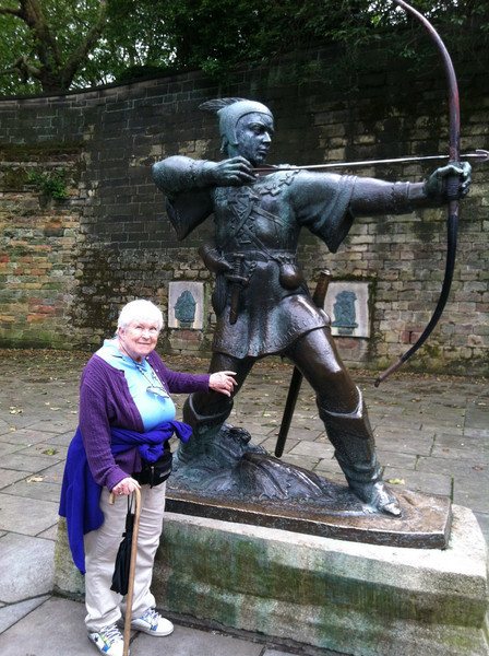 3 July 2012: Thelma and the Robin Hood statue. ... Watch that hand!!