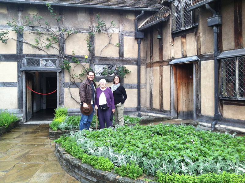 2 July 2012: The three of us in front of Shakespeare's Birthplace.