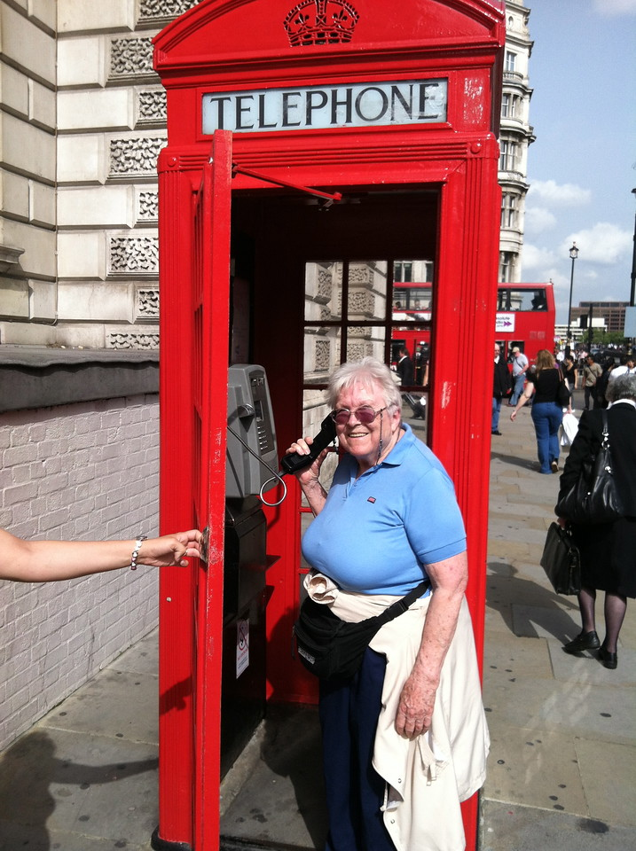 28 June 2012: Thelma in a phone booth.