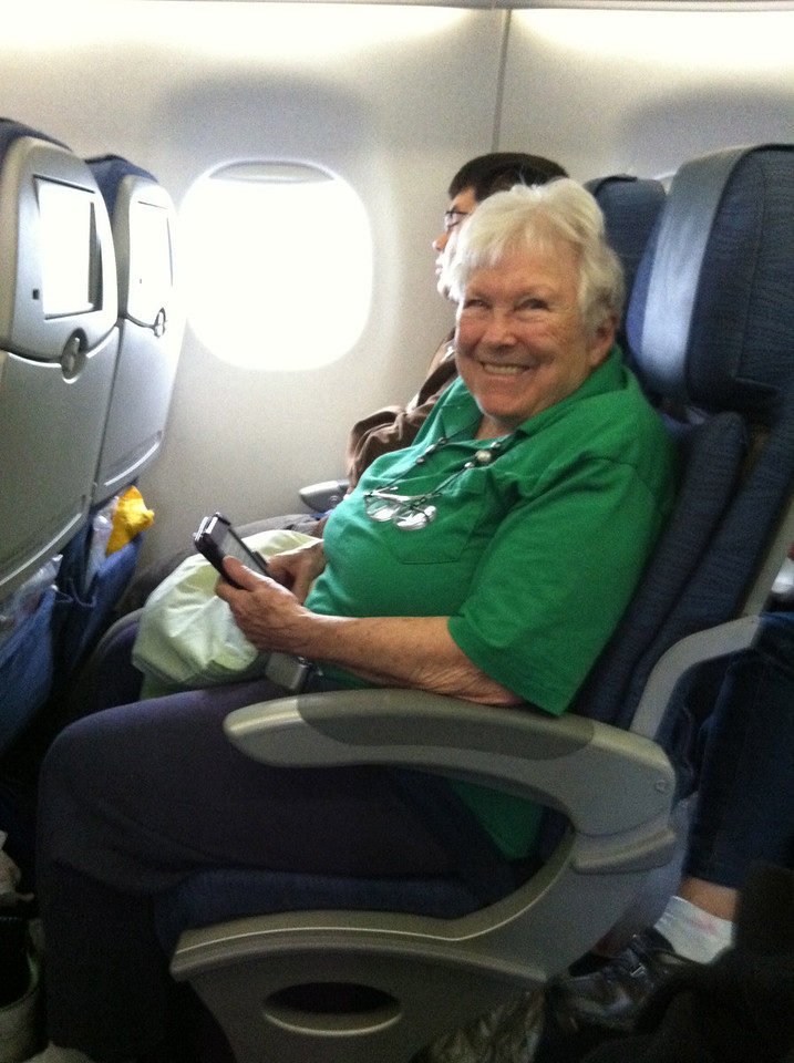 26 June 2012: Thelma's first inter-continental flight! ... Except this is the plane to Canada.