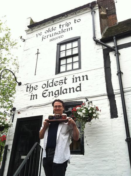 3 July 2012: Ye Olde Trip to Jerusalem Inn. Patrick ordered a flight of beer.