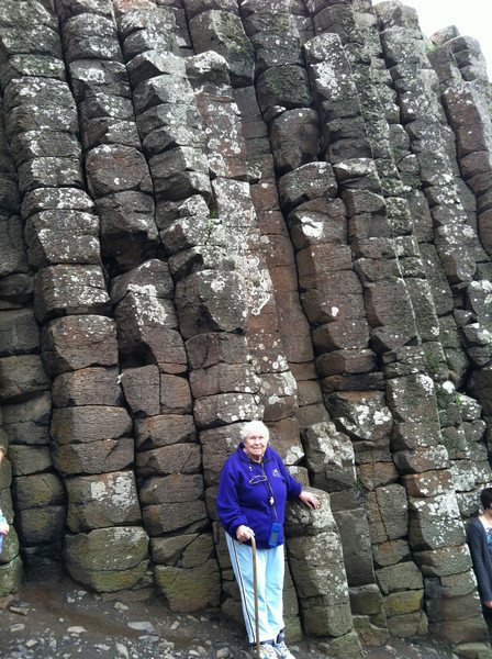 8 July 2012: Thelma in front of a stack of rocks.