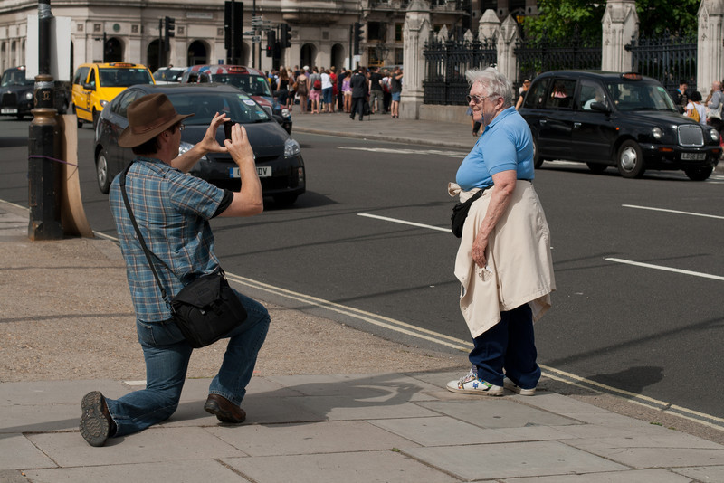 28 June 2012: Patrick taking a picture of Thelma in front of Big Ben.