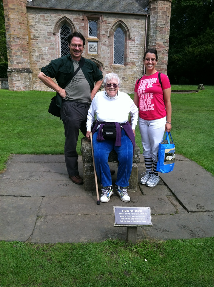 5 July 2012: Here we are, Thelma upon the Stone of Scone. Except it's a copy.