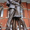 The Meeting Place - a 30-foot bronze sculpture by Paul Day featuring two reunited lovers embracing - St Pancras International railway station