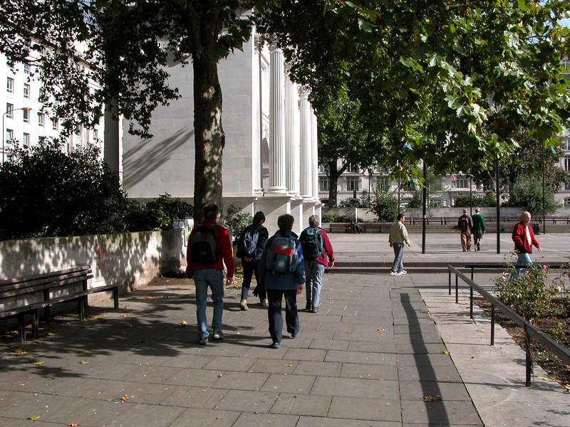 Walking near Marble Arch.
