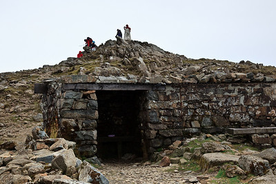 The shelter just below the summit