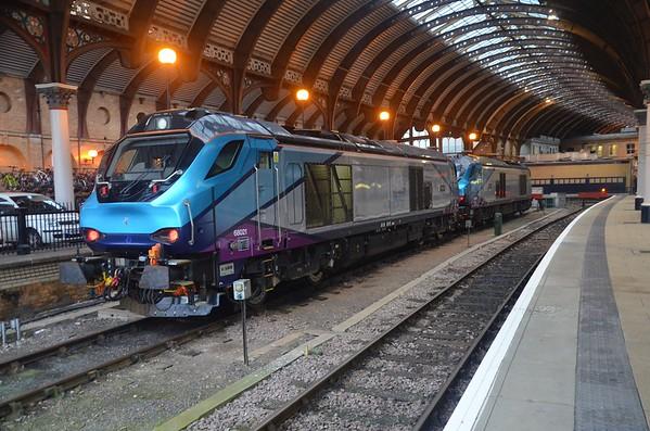 68021 + 68020 at York having arrived with the 0539 Crewe Gresty Bridge / York L.E. Mon 03.12.18