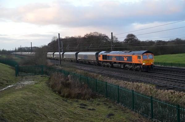 66723 passes Askham Bar, 0737 Drax / Tyne Coal. Mon 01.01.18